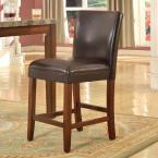 Homepop luxury brownless 24 in. Brown and Tan Bar Stool