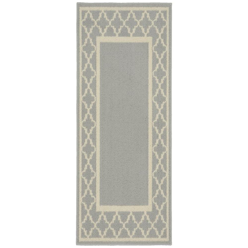 Moroccan Frame Silver/Ivory 2 ft. x 5 ft. Runner Rug