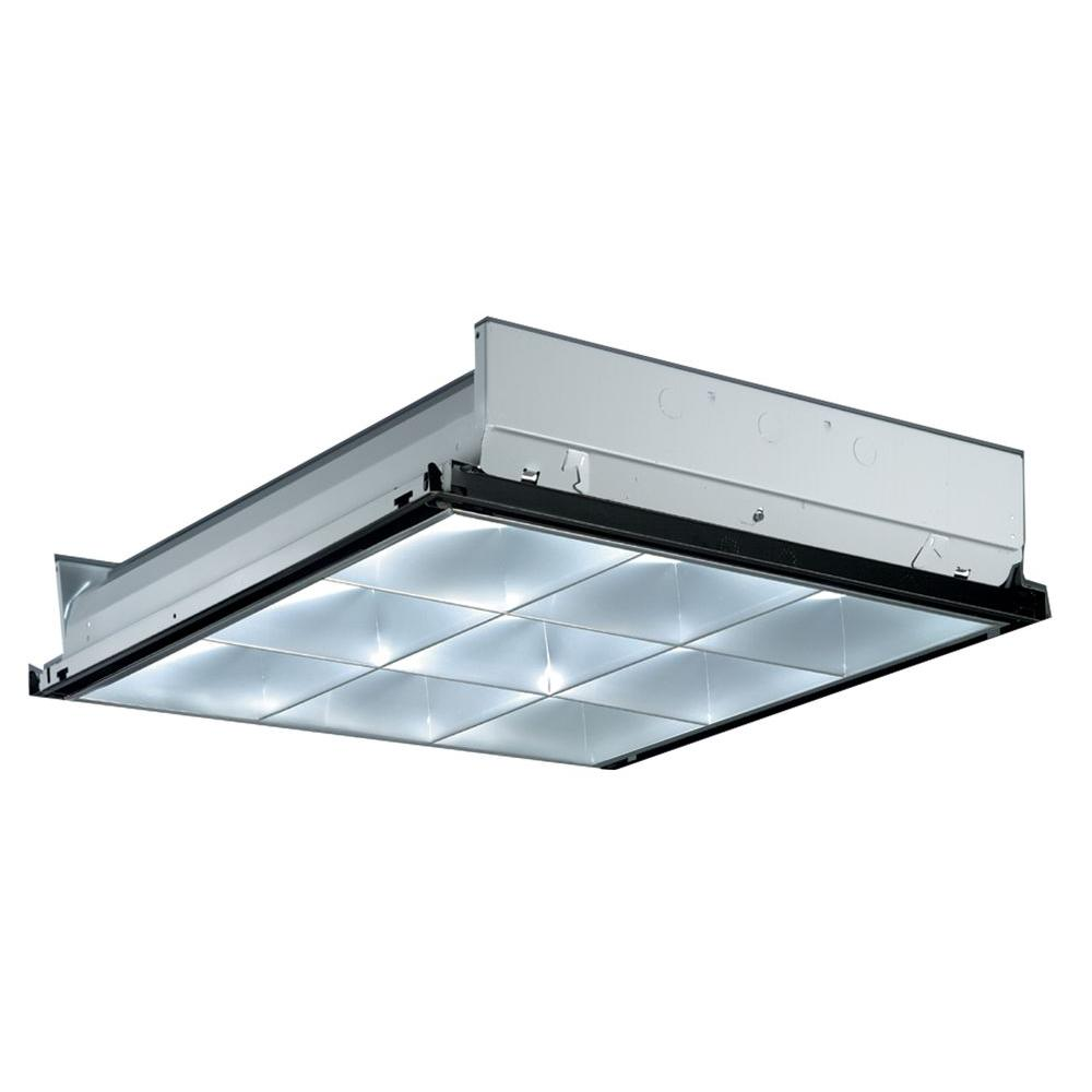 Lithonia Lighting 2 ft. x 2 ft. Silver 9-Cell Multi-Volt Fluorescent ...