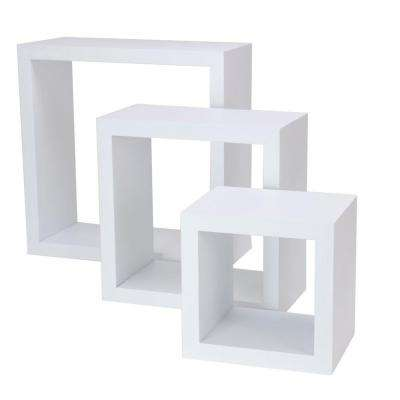 nexxt Cubbi 9 in. MDF Wall Shelf in White (3-Piece)