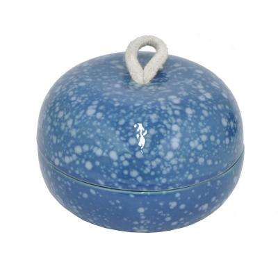 3 in. High Blue Cermic Round Box