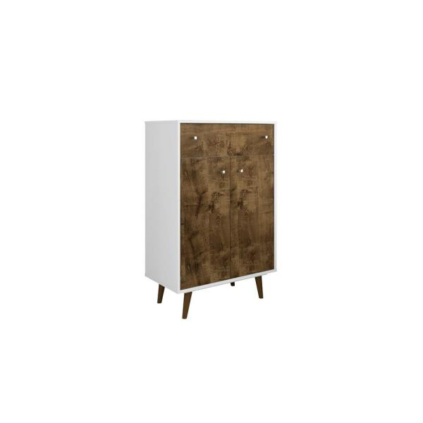 Manhattan Comfort Liberty 28.07 in. White and Rustic Brown Storage Cabinet