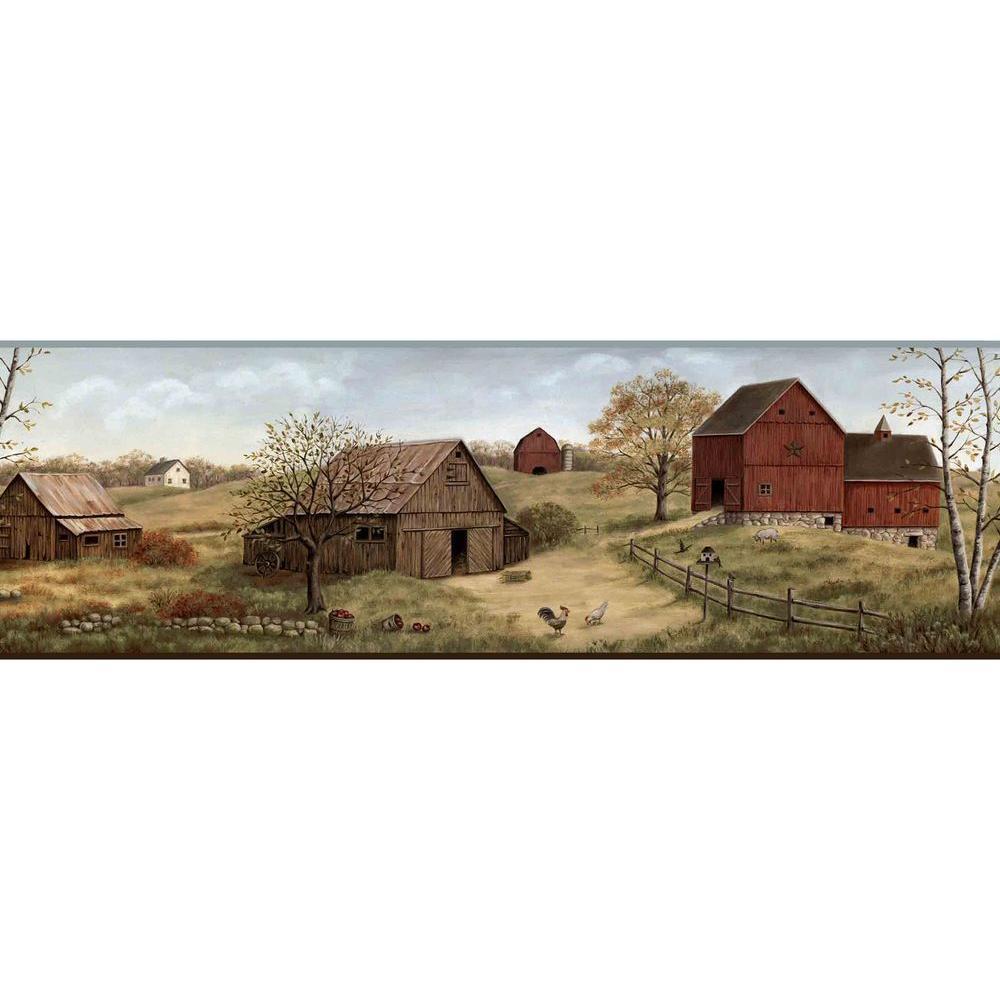 Chesapeake Alanna Blue Farmstead Wallpaper Border Sample CTR65391BSAM