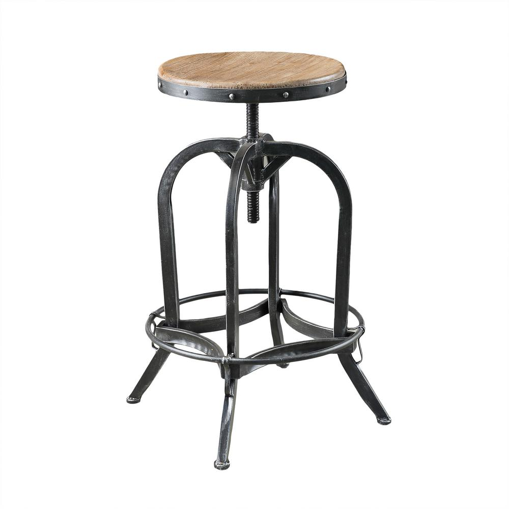 Noble House Mason 33 in. Natural Adjustable Bar Stool