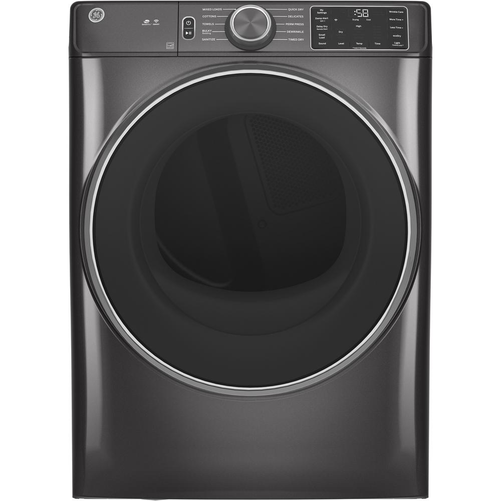 Ge 7 8 Cu Ft Smart 120 Volt Diamond Gray Stackable Gas Vented Dryer With Sanitize Cycle Energy Star Gfd55gspndg The Home Depot