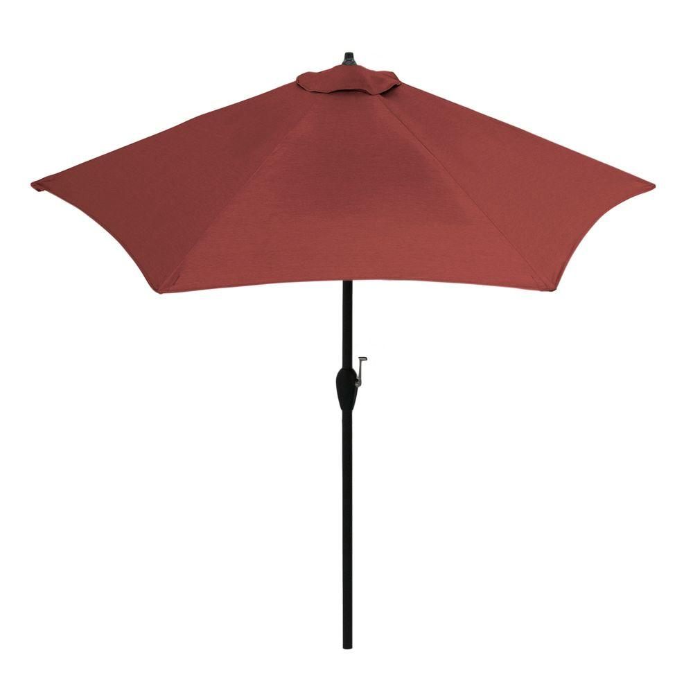 9 ft. Aluminum Patio Umbrella in Sunbrella Canvas Henna with Push-Button