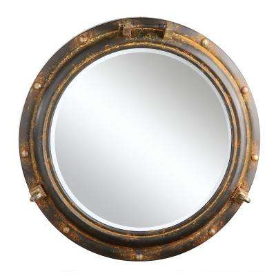 Aiden Grey and Rust Framed Mirror