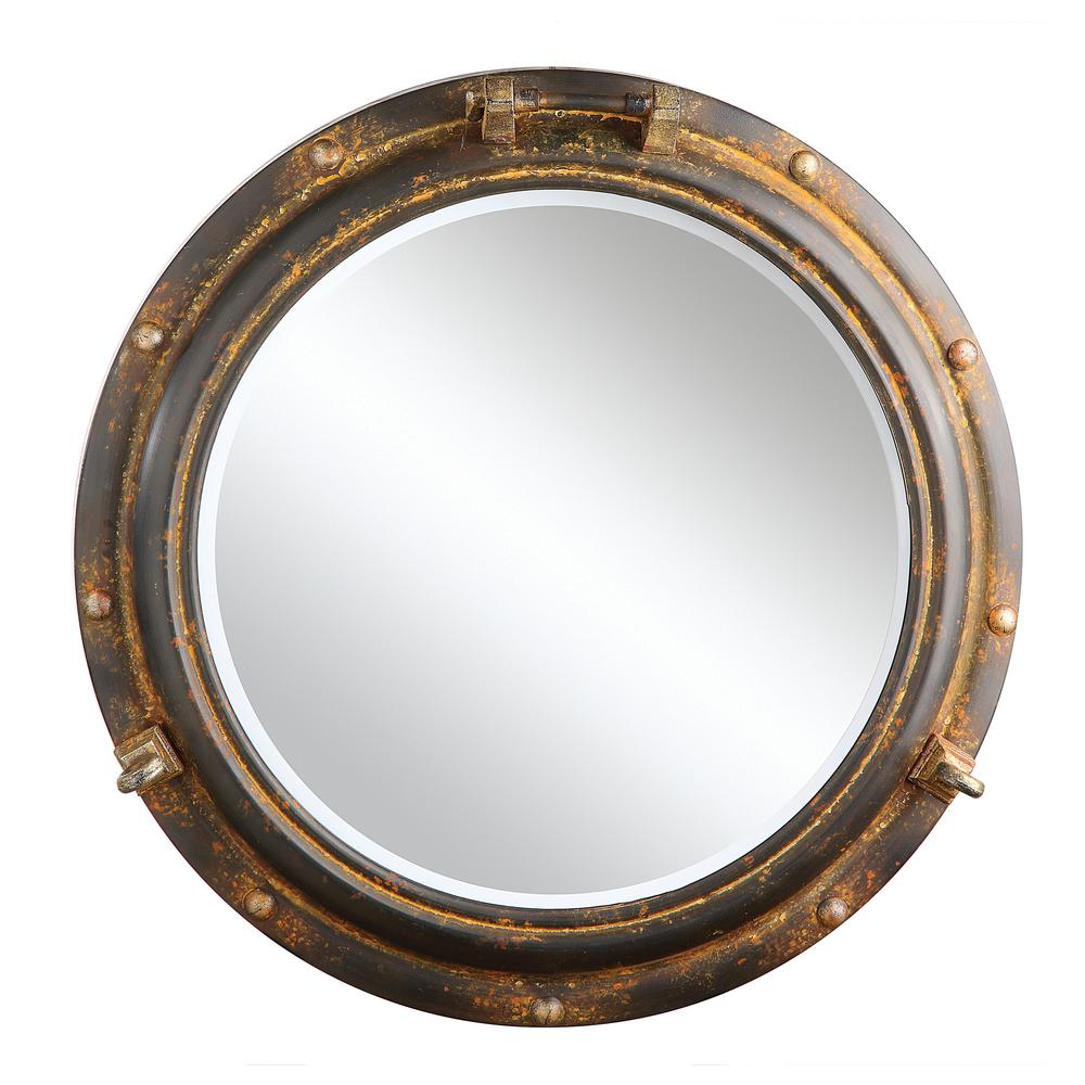 Home Decorators Collection Aiden Grey and Rust Framed Mirror