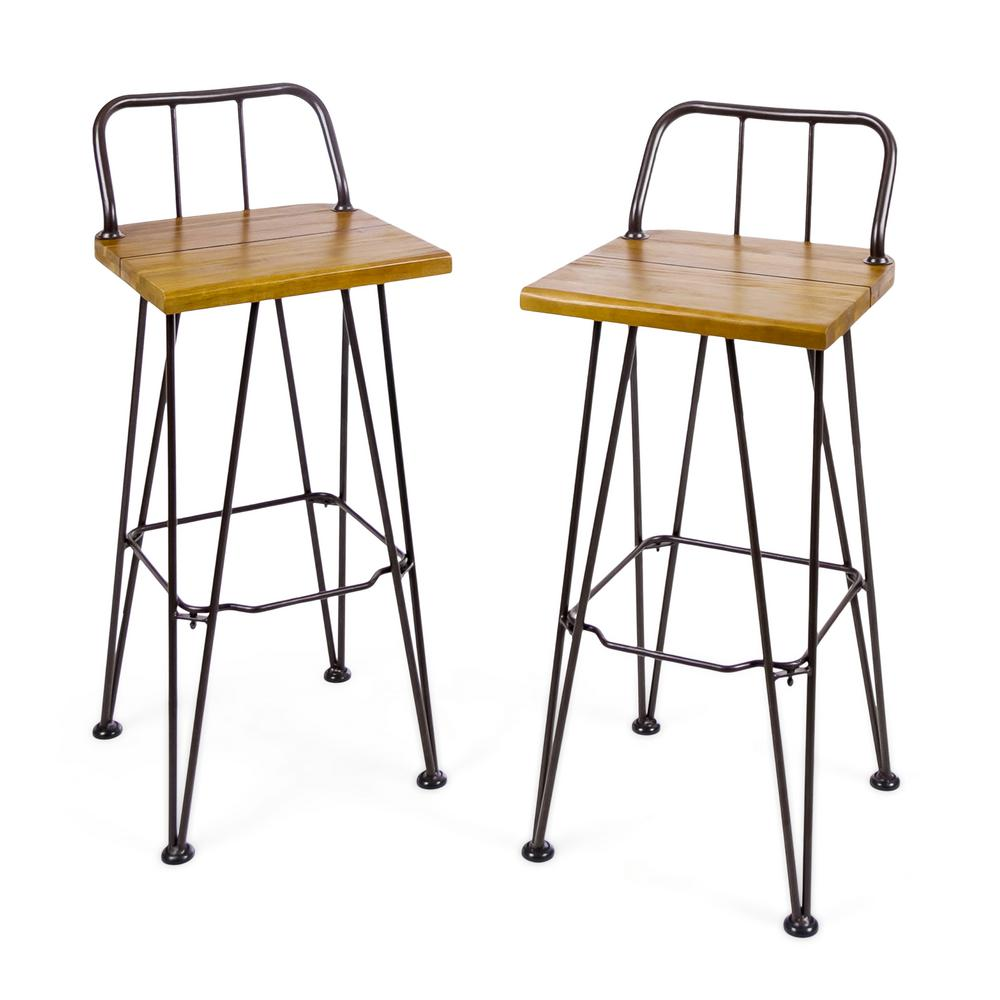 Noble House Leighton Industrial Wood Outdoor Bar Stool 2 Pack