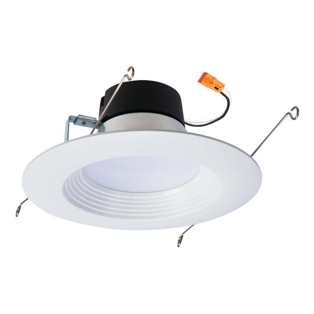 5 in. and 6 in. White Integrated LED Recessed Retrofit Trim