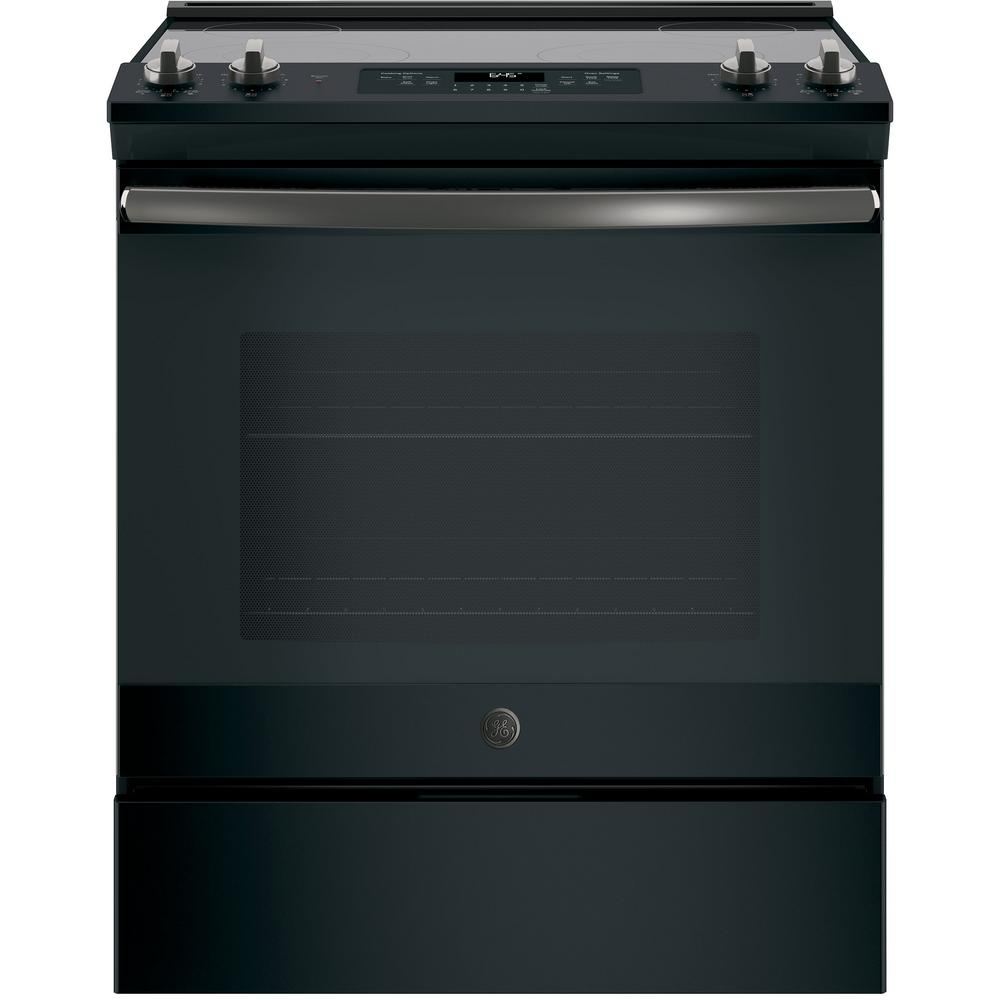 GE 30 in. 5.3 cu. ft. Slide-In Electric Range with Self-Cleaning Oven in Black Slate, Fingerprint Resistant