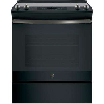 30 in. 5.3 cu. ft. Slide-In Electric Range with Self-Cleaning Oven in Black Slate, Fingerprint Resistant