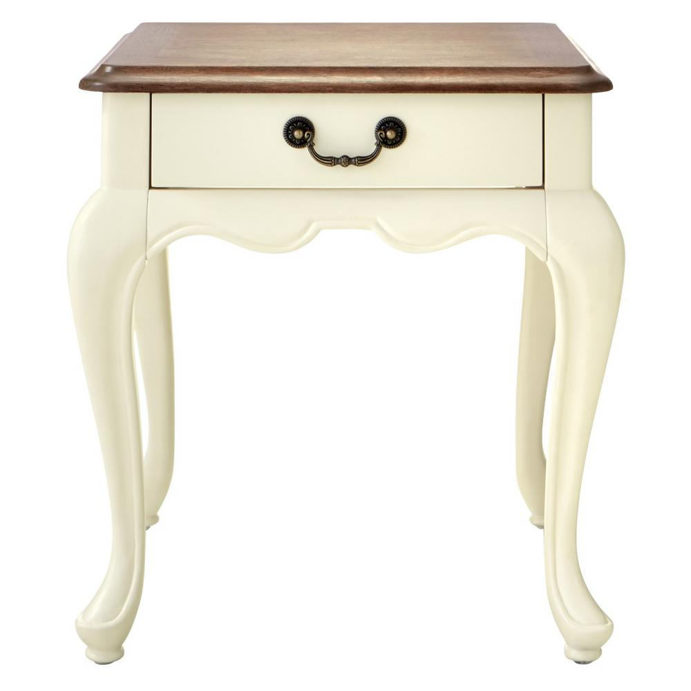 HomeDecoratorsCollection Provence Ivory End Table, Ash brown and Ivory