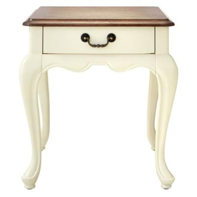 Provence Ivory End Table with Ash Brown Top 22 in.