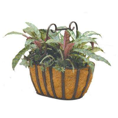 15 in. x 10 in. Metal Oval Twist Basket with Coco Liner