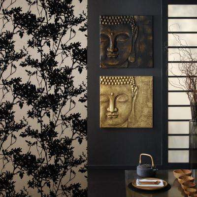 24 in. x 24 in. x 1. in. 3D Black and Gold Buddha with Metallic Frameless Canvas Wall Art