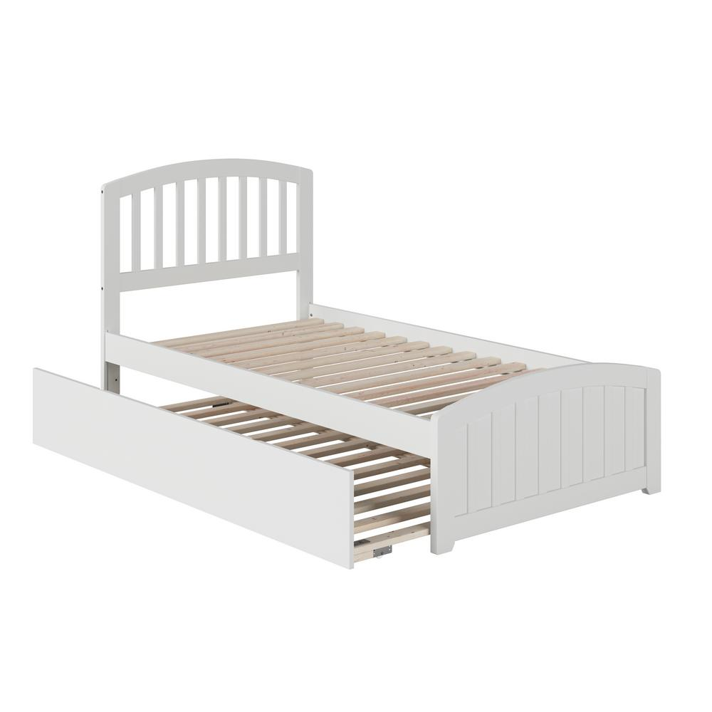 Richmond White Twin Platform Bed with Matching Foot Board with Twin Size Urban Trundle Bed