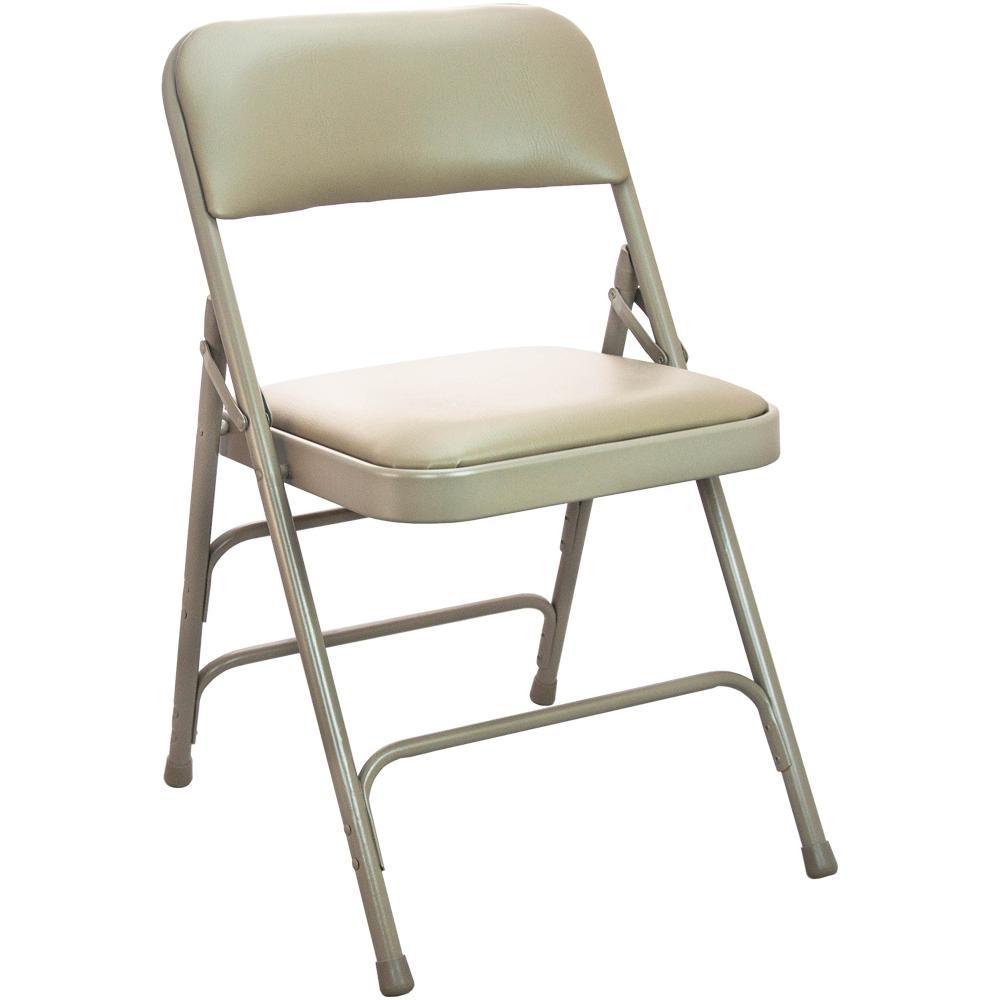 1 in. Beige Vinyl Seat Padded Metal Folding Chair