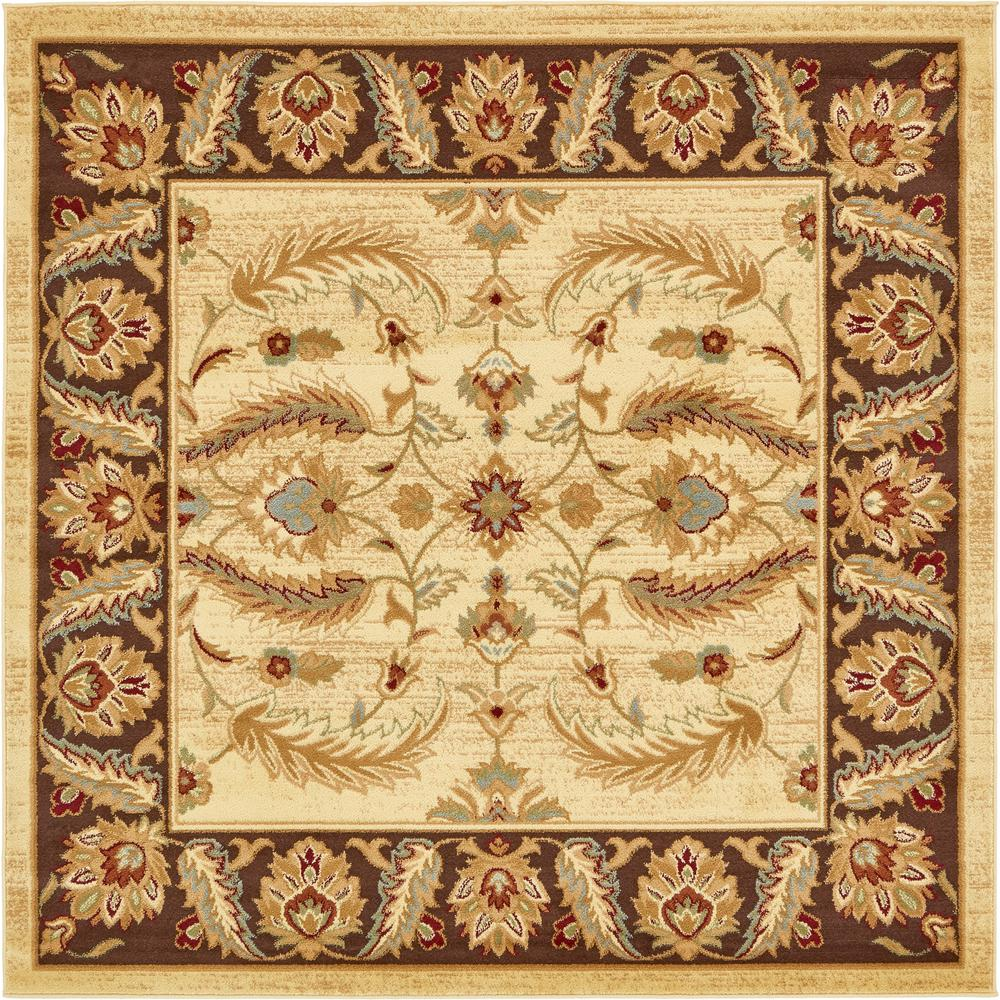 Unique Loom Voyage Cream 6 X 6 Square Rug 3132983 The Home Depot