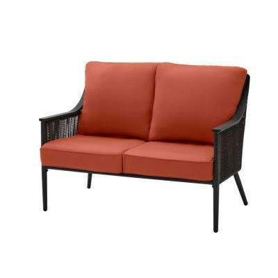 Bayhurst Black Wicker Outdoor Patio Loveseat with CushionGuard Quarry Red Cushions