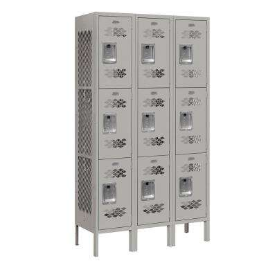 73000 Series 3-Tier 36 in. W x 66 in. H x 12 in. D Vented Metal Locker Assembled in Gray