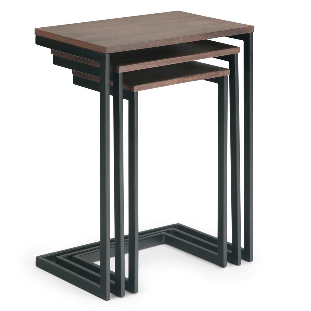 premium selection ad355 ebe0a Simpli Home Burton 18 in. Wide Modern Industrial 3-Piece ...