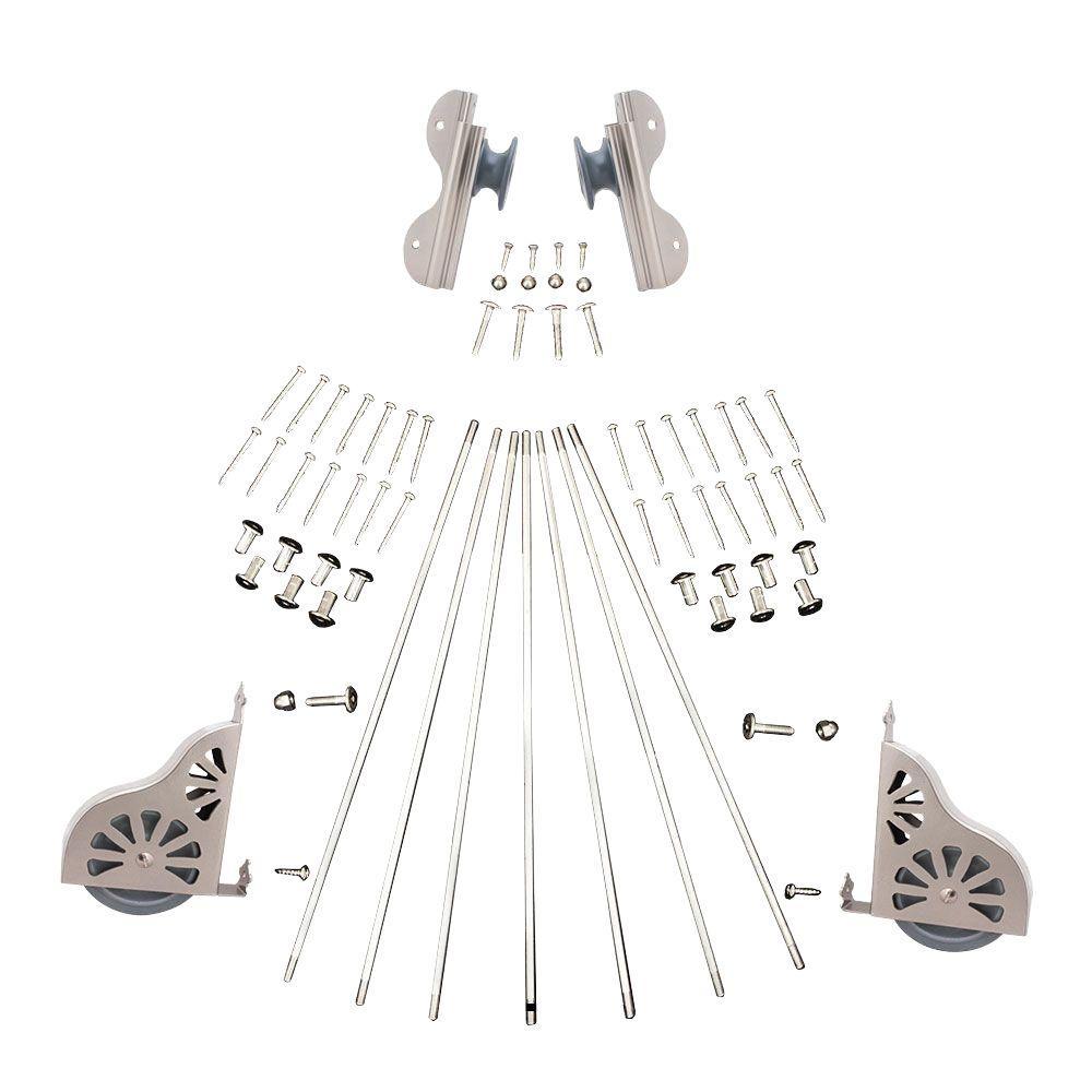 Satin Nickel Rolling Hook Ladder Hardware Kit
