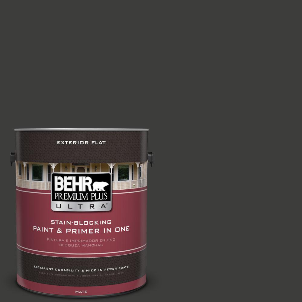 BEHR Premium Plus Ultra 1-gal. #S-H-790 Black Suede Flat Exterior Paint