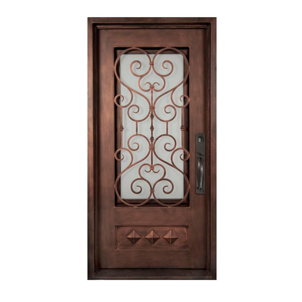 Iron Doors Unlimited 40 in. x 82 in. Vita Francese Classic 3/4 Lite Painted Heavy Bronze Decorative Wrought Iron Prehung Front Door