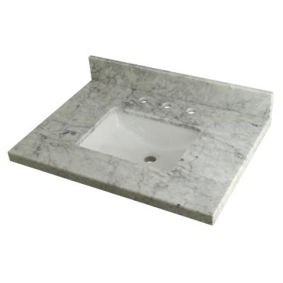 30 in. W Marble Vanity Top in Carrara with White Sink
