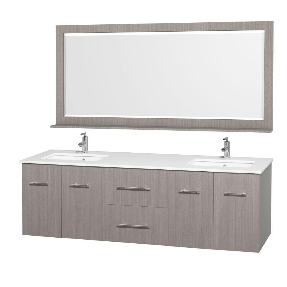 Pleasant Wyndham Collection Centra 72 In Double Vanity In Grey Oak With Man Made Stone Vanity Top In White And Square Porcelain Undermounted Sinks Beutiful Home Inspiration Truamahrainfo