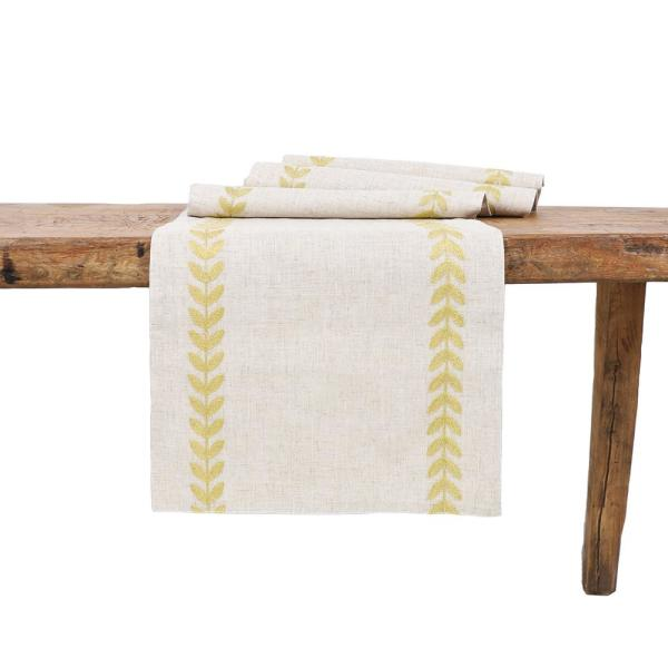15 in. x 108 in. Cute Leaves Crewel Embroidered Table Runner, Gold/Natural