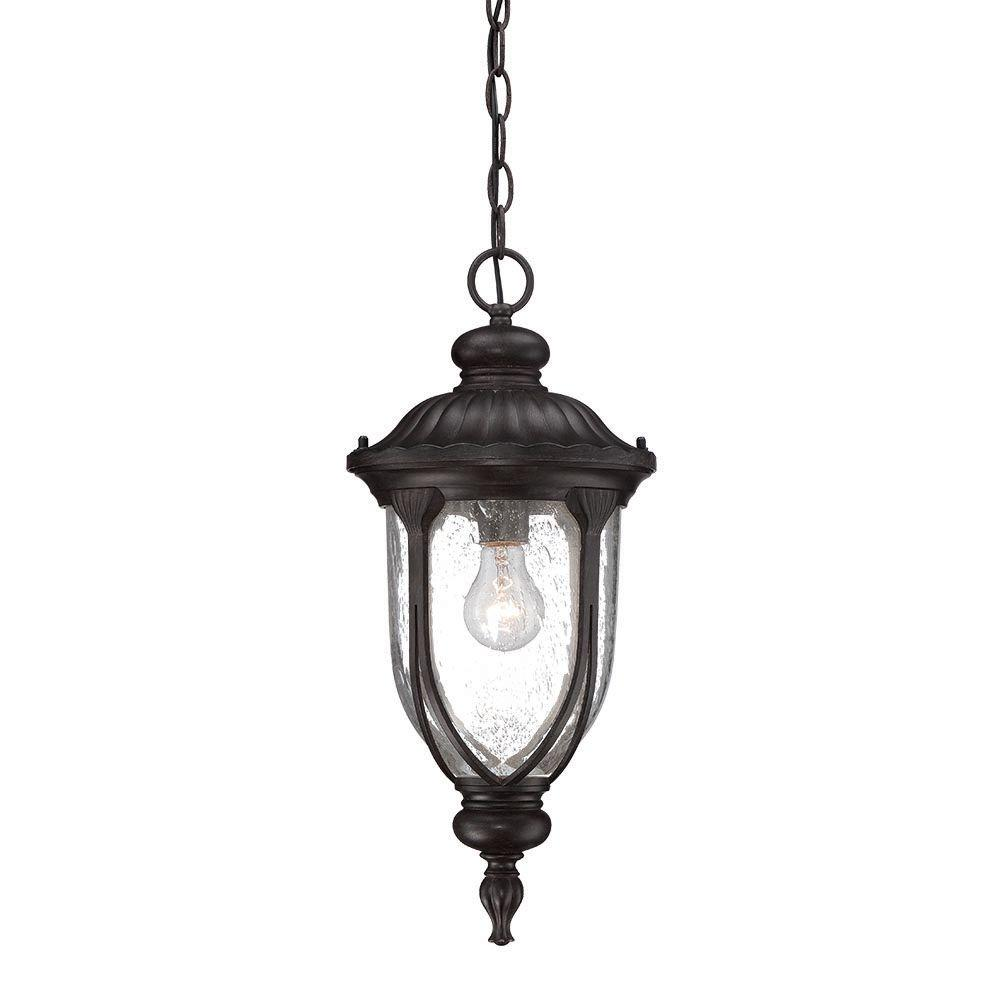 Laurens 1-Light Black Coral Outdoor Hanging Lantern