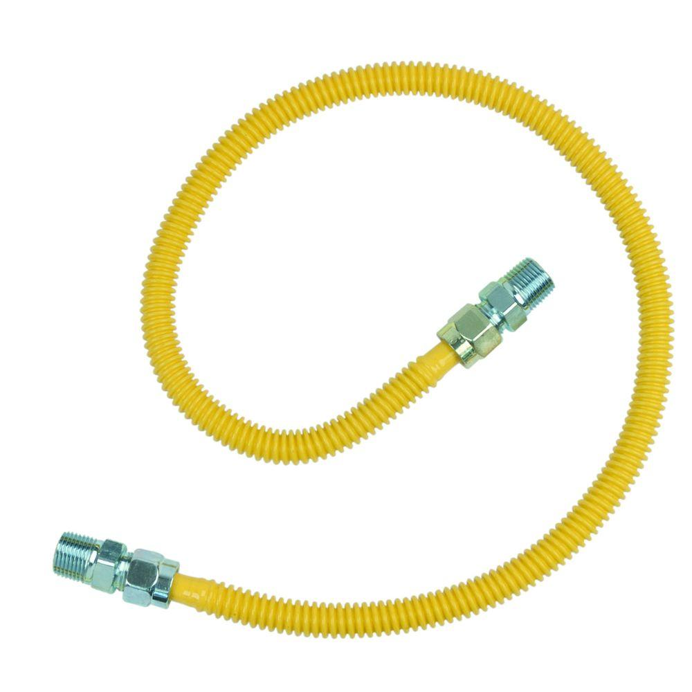 BrassCraft 1/2 in. MIP x 1/2 in. MIP x 36 in. ProCoat Gas Appliance Connector 1/2 in. OD (71,1000 BTU)-DISCONTINUED