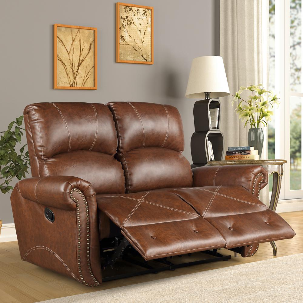 Harper & Bright Designs Brown PU Leather Double Recliner Sofa Enjoy your sophisticated life from now on with this Harper & Bright Designs PU Leather Recliner Chair. The chair back reclines, footrest elevates, and then you could start luxuriously comfortable relaxing journey, while the saddle-shaped seat and pillowed backrest ensuring stable support. Available with high quality brown faux leather, sturdy metal framework inside, double stitched detailing, and fashionable nail head trim on the chair's rolled arm, the chair can complement any style of room. It combines fashion and function. Enjoy your favorite leisure time from this comfortable mainstays home theater recliner.
