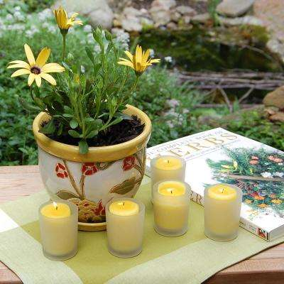 12 Citronella Candles (15 Hours) in Frosted Glass Votives