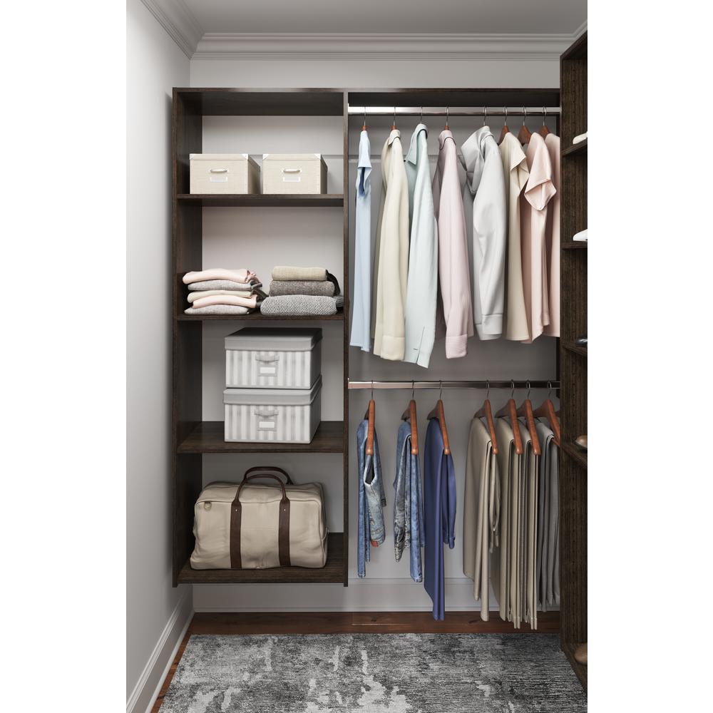 5-8 ft Nickel Wood Trim Customizable ClosetMaid Wire Closet Organizer Kit