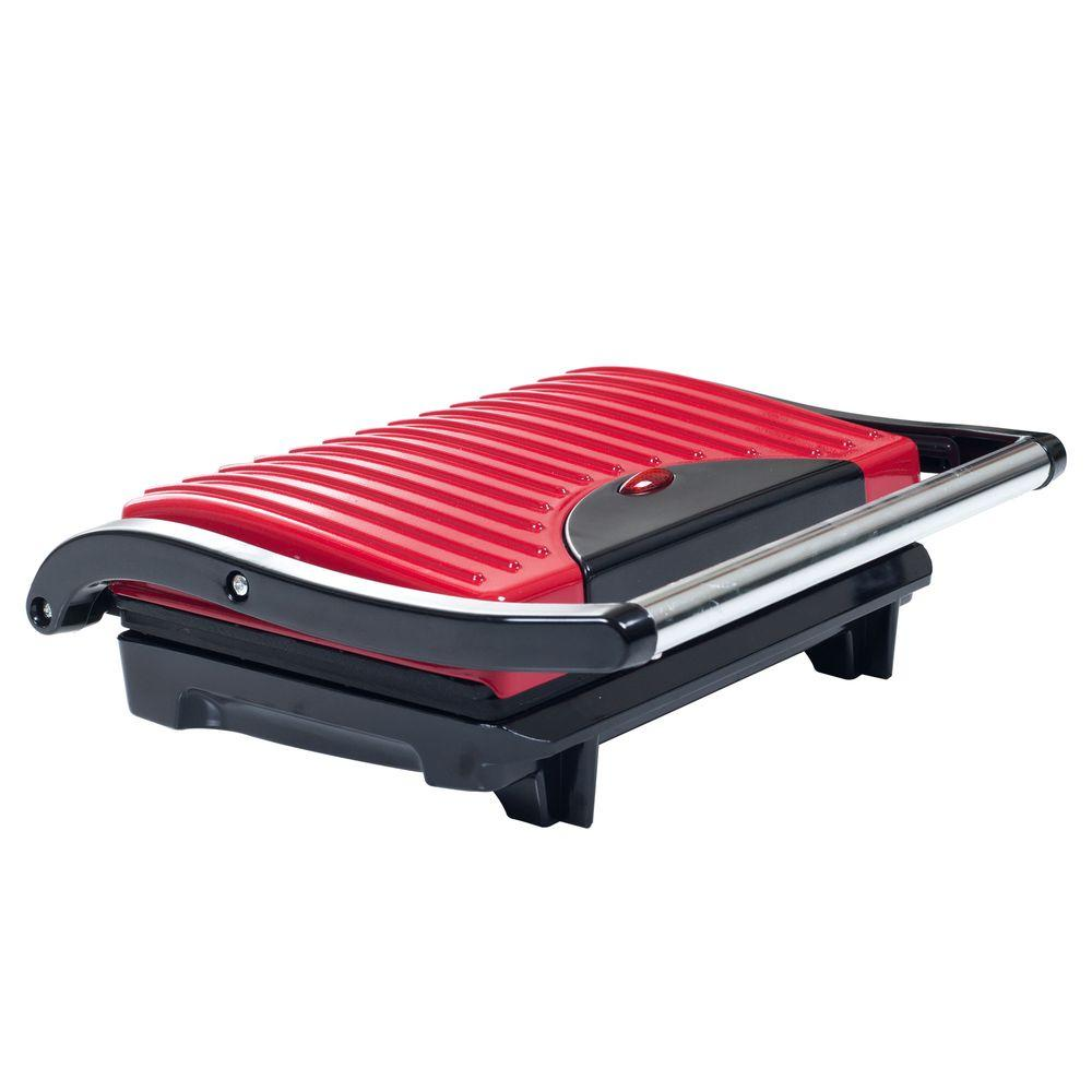 Chef Buddy Non-Stick Panini Press, Red/Orange Take that boring turkey and cheese sandwich and give it just 5 minutes in the Chef Buddy Non-Stick Grill and Panini Press. Now you are looking at a tasty treat with crispy edges, crunchy bread, steaming meat and melt. The Chef Buddy Non-Stick Grill and Panini Press also grills meats. Perfect for ham steaks or sausage patties for breakfast, along with pork chops for dinner or throw a chicken breast in there and chop it up for a great lunch salad. The Chef Buddy's Non-Stick Grill and Panini Press are perfect for taking boring meals and making them gourmet in just minutes. Color: Red/Orange.