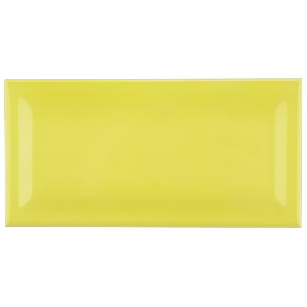 Merola Tile Park Slope Beveled Canary Yellow 3 in. x 6 in. Ceramic Subway Wall Tile (19.18 sq. ft. / case)