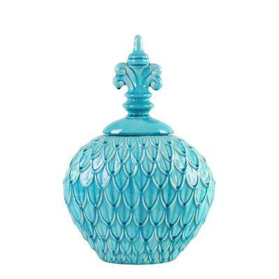Small Textured Turquoise Blue Decorative Decorative Urn