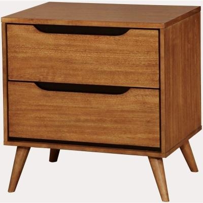 2-Drawer Brown Mid-Century Modern Nightstand
