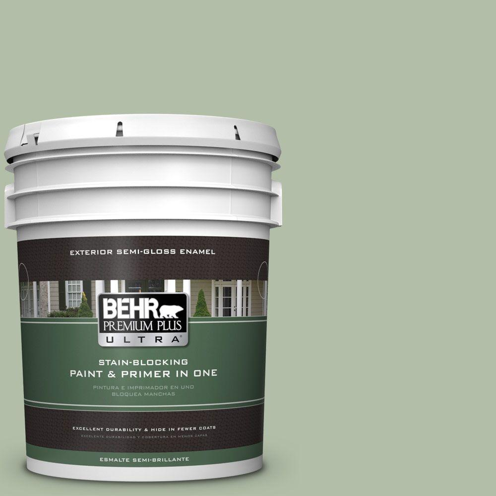 BEHR Premium Plus Ultra 5-gal. #S390-3 Creamy Spinach Semi-Gloss Enamel Exterior Paint