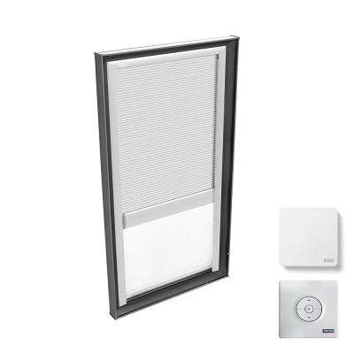 22-1/2 in. x 46-1/2 in. Fixed Curb Mount Skylight w/ Laminated LowE3 Glass and White Solar Powered Light Filtering Blind