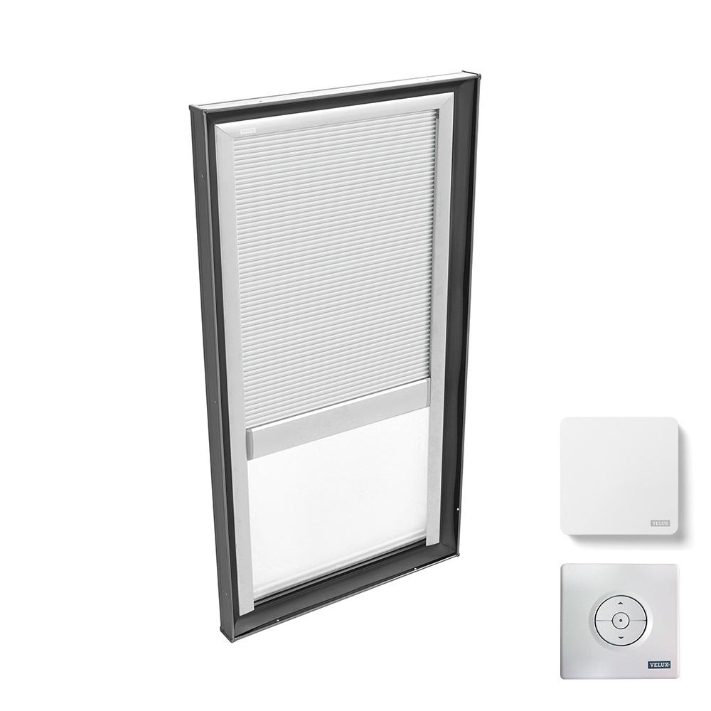 VELUX 30-1/2 in. x 46-1/2 in. Fixed Curb Mount Skylight w/ Tempered Low-E3 Glass & White Solar Powered Light Filtering Blind