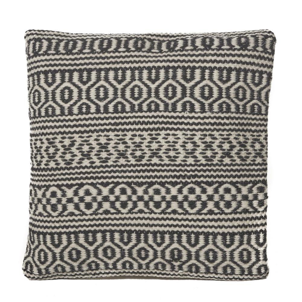 Noble House Fargo Black And White Geometric Cotton 17 In X 17 In Throw Pillow 15329 The Home Depot