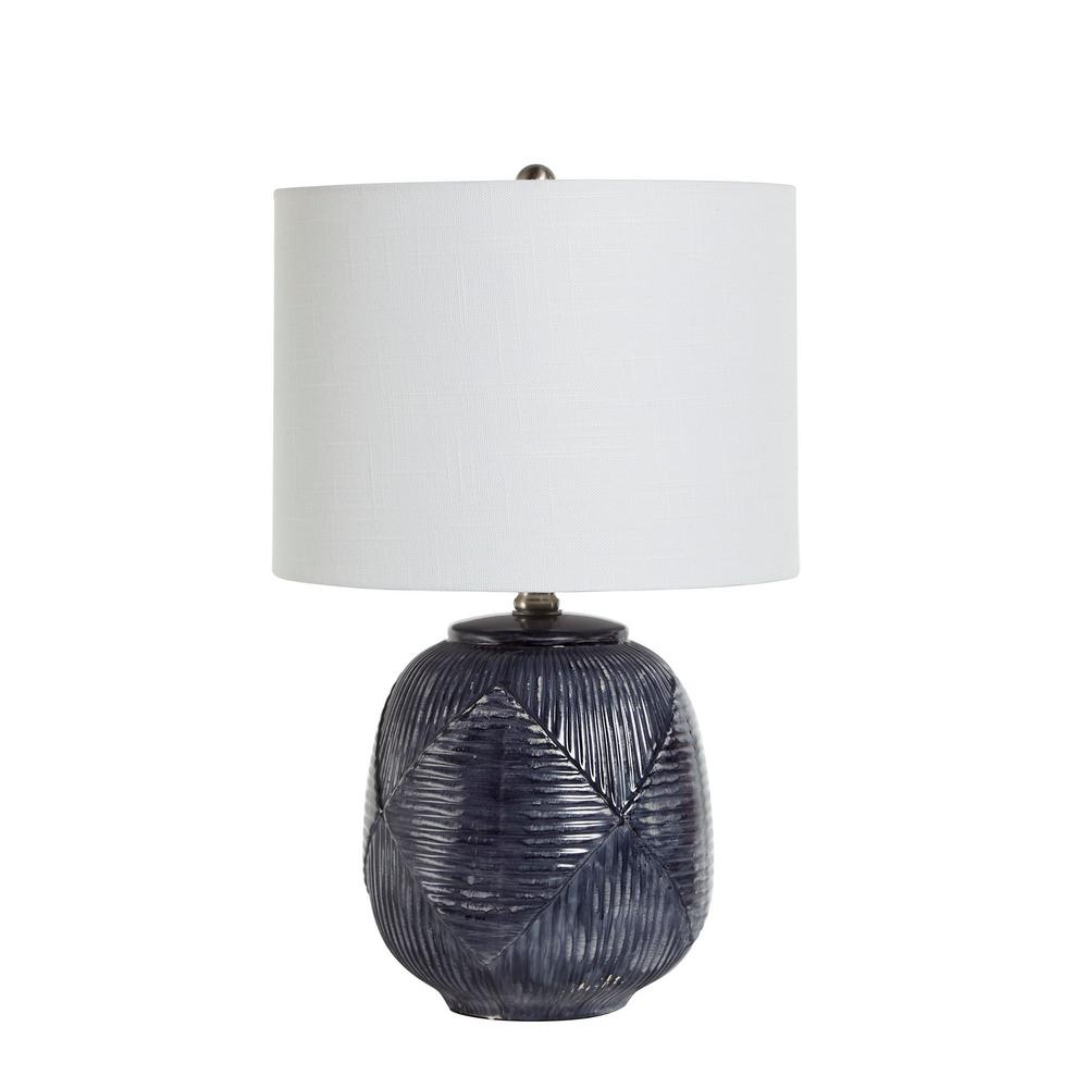 Silverwood Furniture Reimagined 19 In Blue Ceramic Table Lamp With Shade