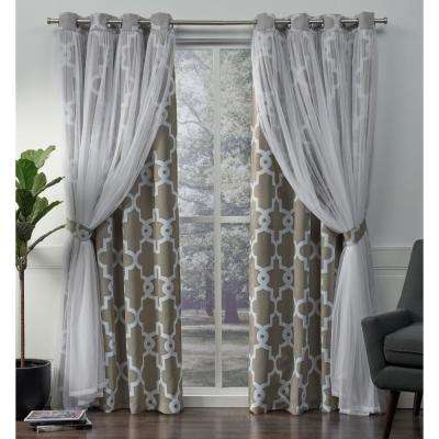 Alegra 52 in. W x 84 in. L Layered Sheer Blackout Grommet Top Curtain Panel in Natural (2 Panels)
