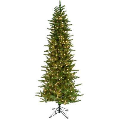 9 ft. Carmel Pine Slim Artificial Christmas Tree with Clear LED String Lighting