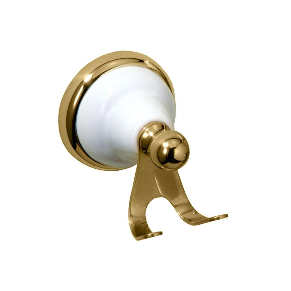 Gatco Franciscan Double Robe Hook in Polished Brass and Porcelain-DISCONTINUED