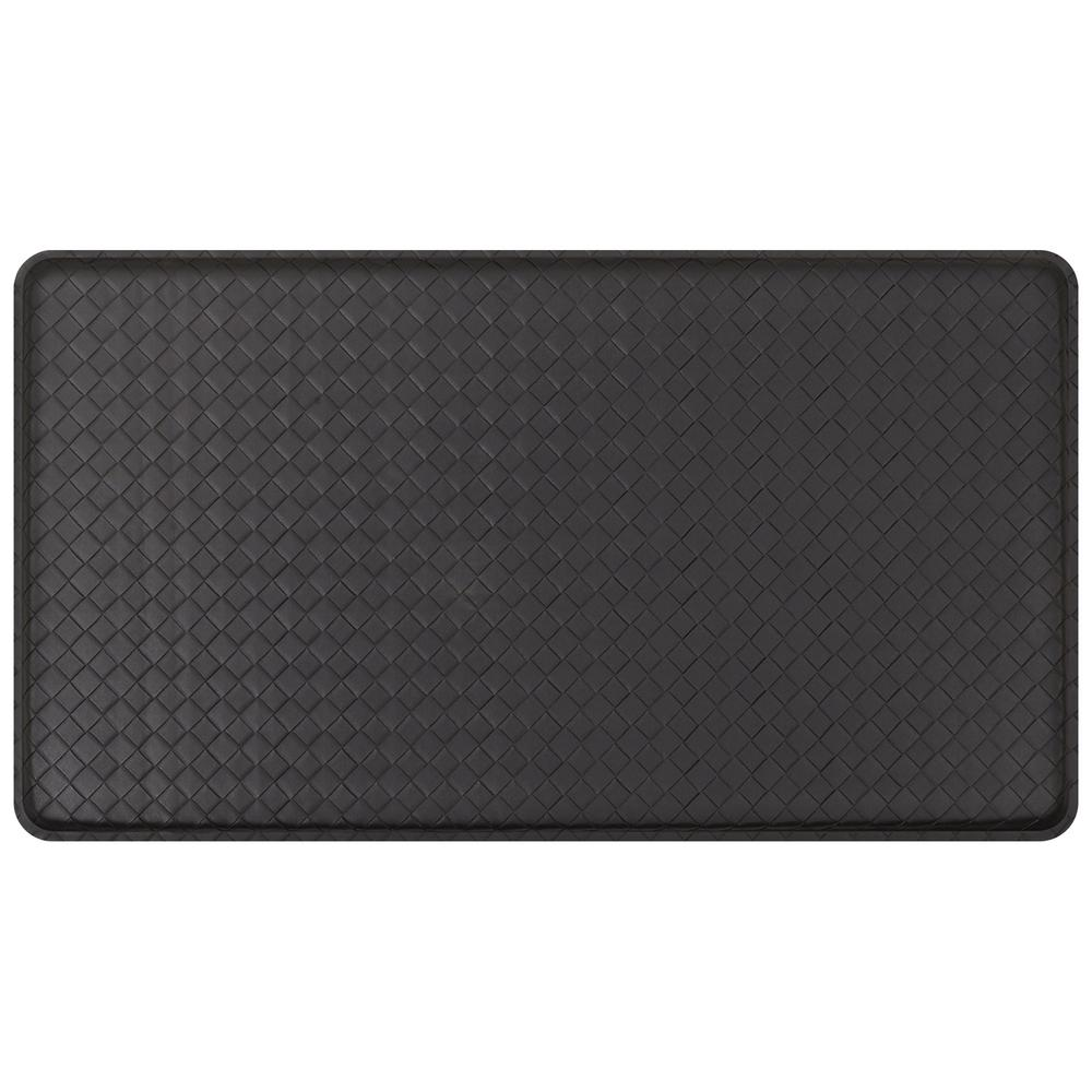 GelPro Classic Basketweave Black 20 in. x 36 in. Comfort Kitchen Mat